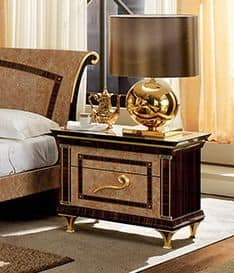 Rossini night table, Bedside table with gilded feet and Macassar inserts