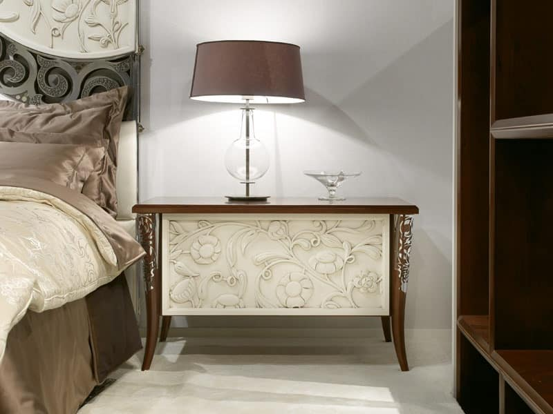 Classical bedside table, in rosewood, for luxury hotels ...