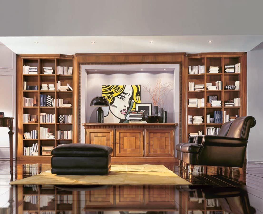 911, Precious Bookcase With Cupboard And Spotlights, For Living Room
