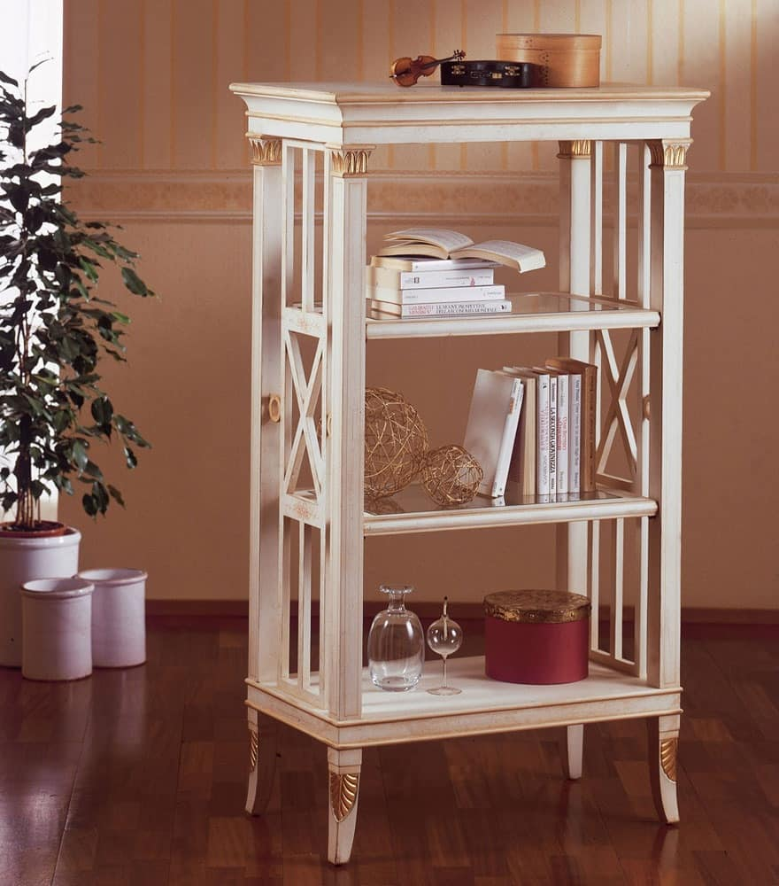 Art. 202, Small bookcase in wood, gold leaf decorations, for living room