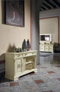 Art. 42360 Puccini, Low bookcase with 1 door and 2 drawers, for classic villas