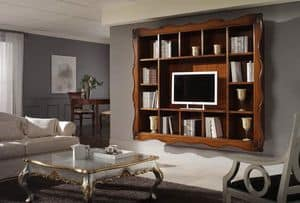 Art. H6006 INLAID BOOKCASE, Classic bookcase with 14 rooms and carved frame