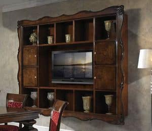 Art. H6007 WALL SYSTEM, Bookcase with TV space, in luxury classic style
