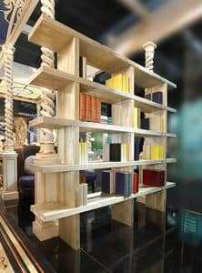 Bookcase, Bookcase in sandblasted pine, decorated with powdered gold
