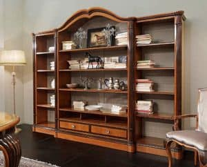 Bourbon Art. 25.004, Bookcase with wide shelves, carved cherry