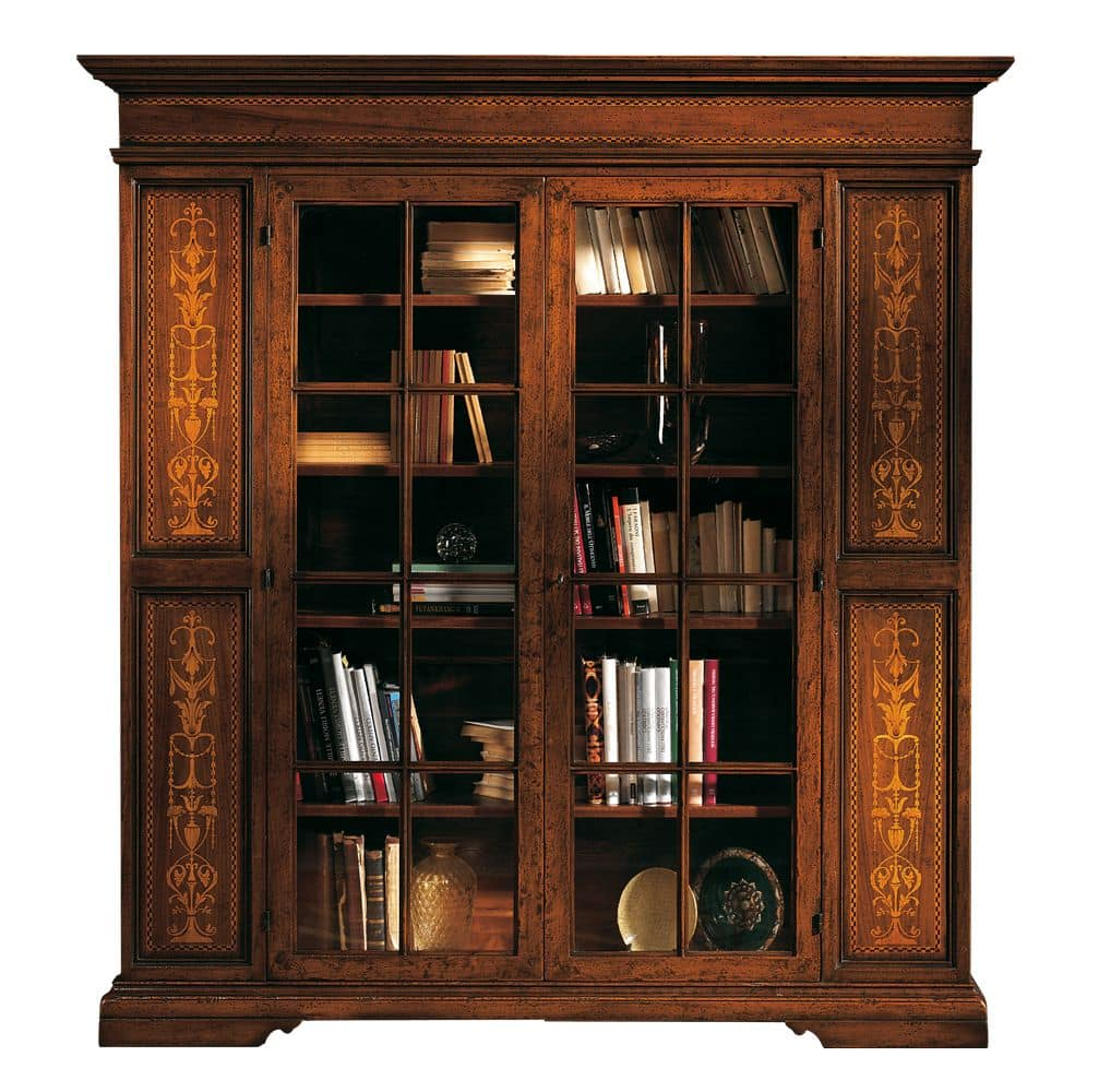 Bookcase in walnut with 2 glass doors, classic style idfdesi.