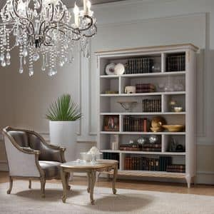 Live 5311 libreria, Bookcase in wood, with handcrafted gold finish decorations, ideal for classics sitting rooms