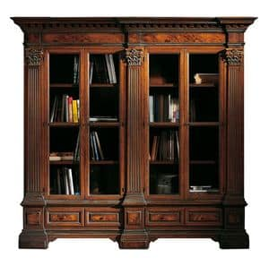 Sillano ME.0124, Bookcase in walnut with 4 doors, briar mirrors and Corinthian capitals, base with two drawers, for environments in classic style