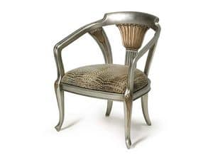 Art.122 armchair, Classic style armchair, padded with elastic straps