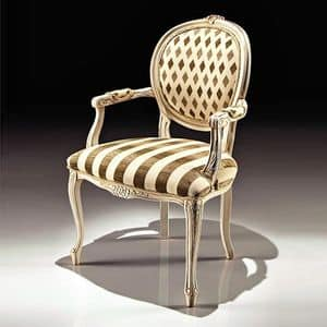 Picture of Art. 8018/A, carved wooden chair with arms