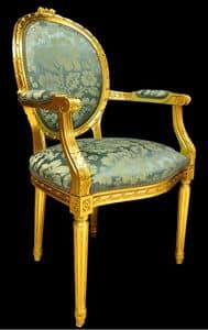 Art. L-794, Chair head of the table in inlaid wood, upholstered seat and back, lacquered gold, in classic style