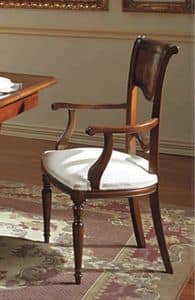 Canova chair head of the table, Chair head of the table, carved and inlaid, in walnut