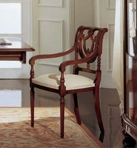 Gardenia chair head of the table, Chair head of the table in walnut, with perforated back