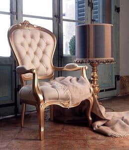 Giorgione armchair, Leather upholstered armchair, for classic living room