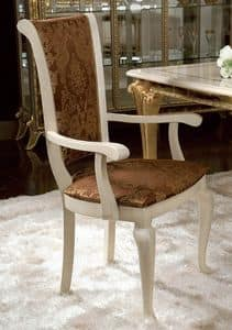 Raffaello chair with armrests, Classic chair with armrests, with floral decorations