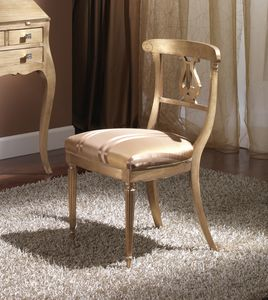 712 CHAIR, Wooden chair with padded seat, in Empire style