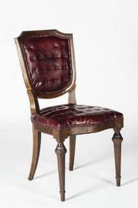 Art. 600/B, Luxury chair in calfskin, classic style