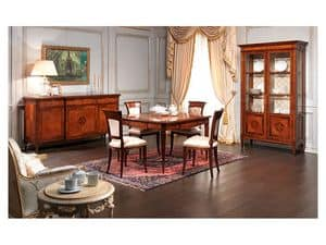 Art. 962 table Carlo X, Precious dining table, inlaid, walnut antique finish