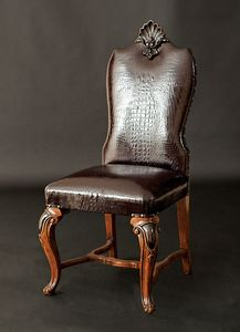 Art. 98/C chair, Leather chair, decorated with handmade carvings