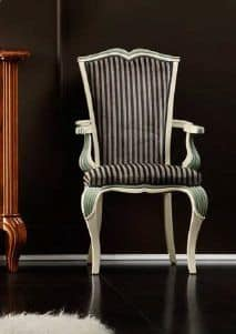 Bourbon Art. 94.7086, Padded chair head of the table with tapered legs