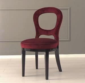 Gilda, Upholstered chair, with perforated back and ash base