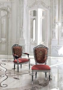 LG/500/S.LG/500/P, Classic luxury Chair with upholstered seat and back