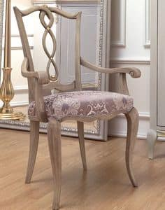 Live 4 chair with armrests, Head of the table chair in classic style, in wood with upholstered seat, for dining room