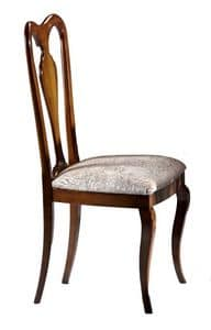 Porto Azzurro, Walnut chair with wooden back, for dining room