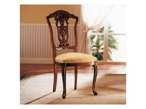ROYAL NOCE / Chair, Wooden chair with upholstered seat for dining room