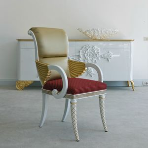 Stresa B1091, Upholstered chair with carved armrests