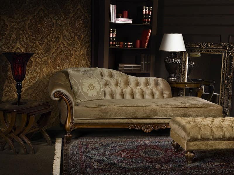 Chaise longue padded in polyurethane quilted for lobby for Chaise longue classic design italia