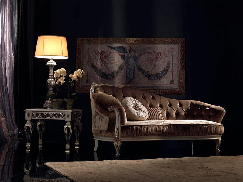 Luxury classic chaise longue quilted for reception for Chaise longue classic design italia
