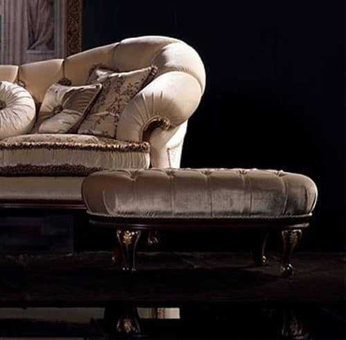 Classic pouf upholstered walnut finish for living room for Chaise longue classic design italia