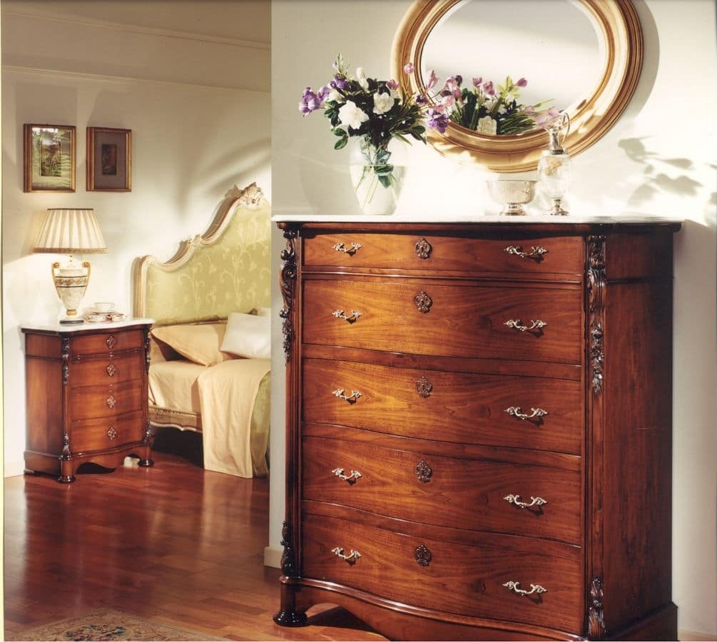 3080 CHEST OF DRAWERS, Classic chest of drawers suited for bedroom, wooden chest of drawers for hotels