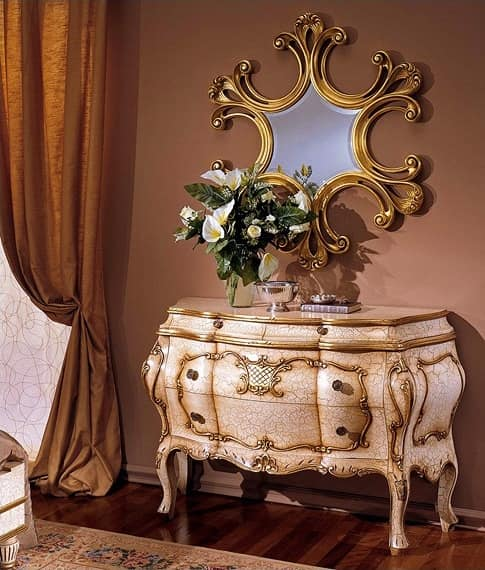 3295 CHEST OF DRAWERS BAROCCO, Dresser classic, hand-carved, gold leaf finishes