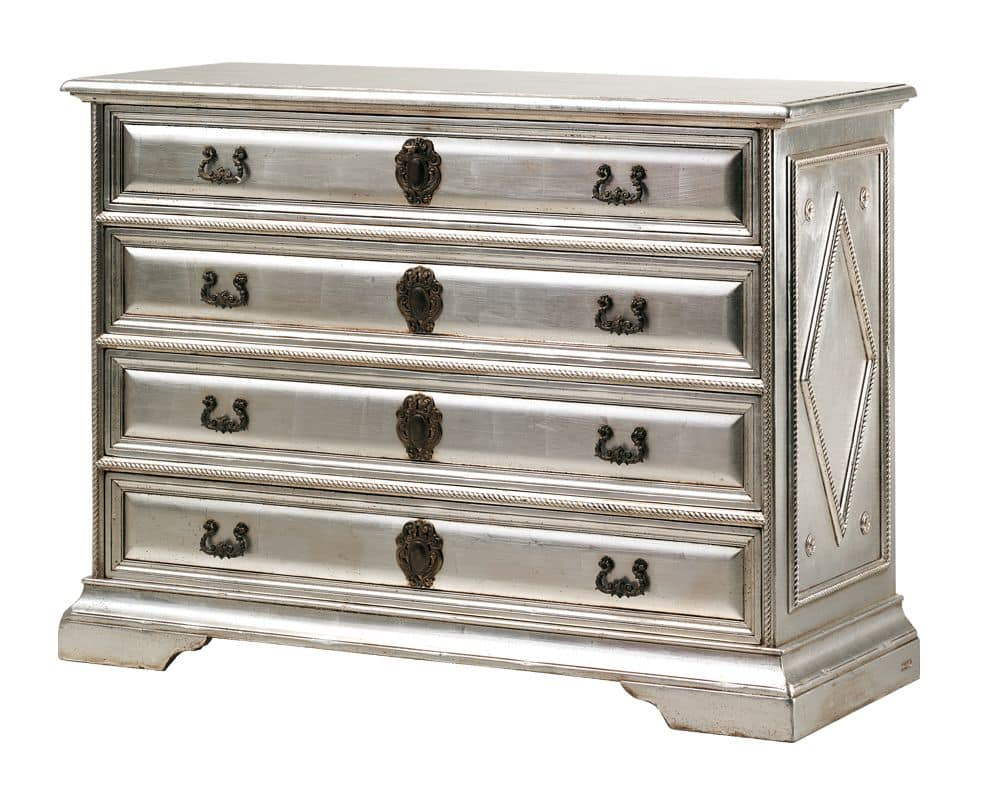 Angelico RA.0754, Ebonized wood chest of drawers, with 4 drawers, in silver color, for environments in classic luxury style
