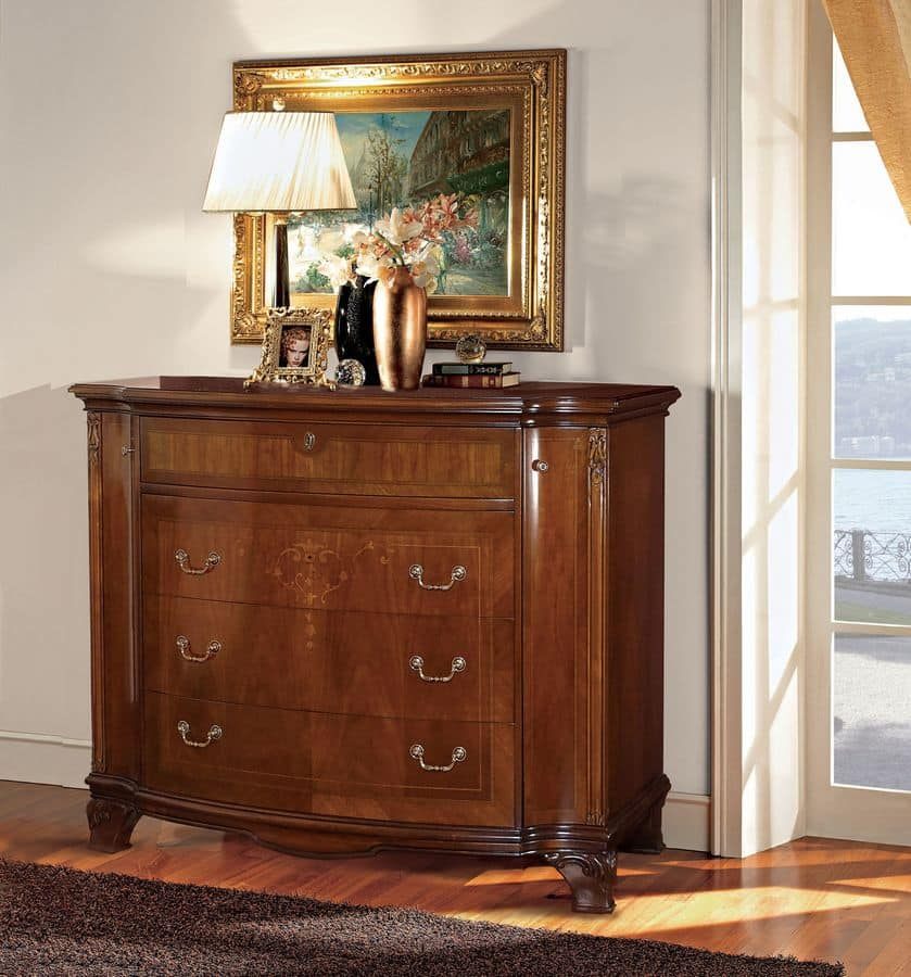 Anna chest of drawers, Walnut chest of drawers, carved and inlaid by hand, suitable for bedrooms classic luxury