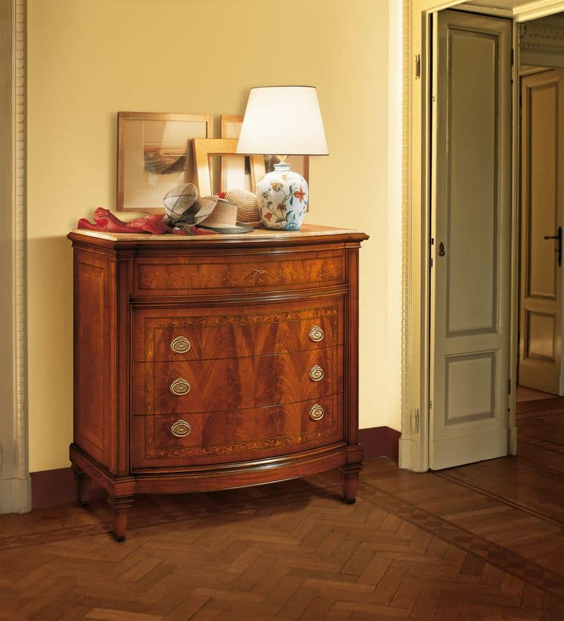 Art. 101, Walnut dresser with four drawers, classic luxury style