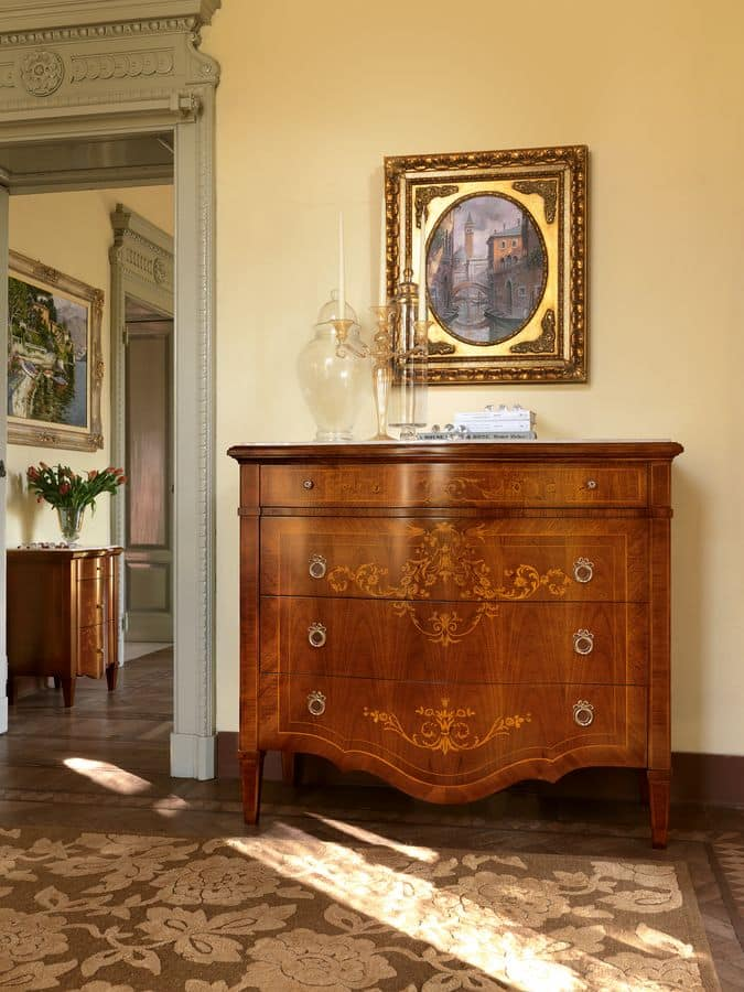 Art. 108, Classic chest of drawers with encased marble top and 4 drawers