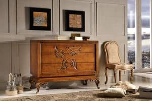 Art. 770, Dresser inlaid by hand, equipped with 3 drawers