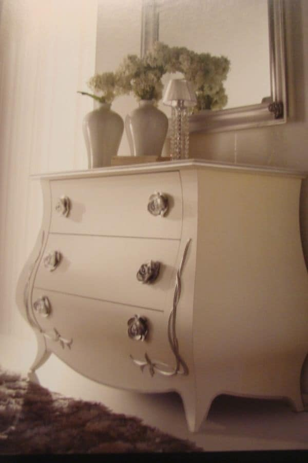 Art. TV1112, White lacquered chest of drawers for lusury bedrooms