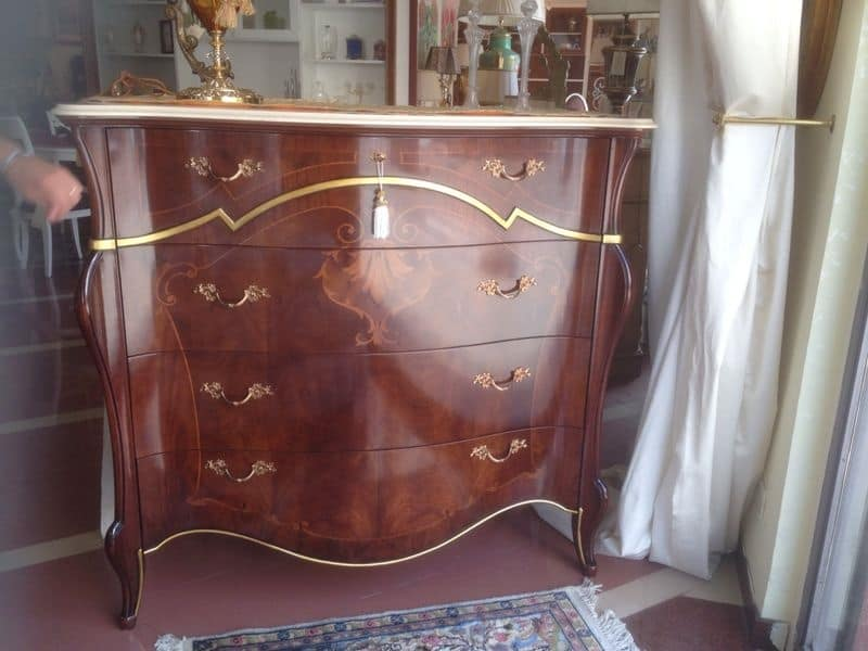 Beatrice Dresser walnut, Classic wooden dresser, with 3 drawers and 1 flap