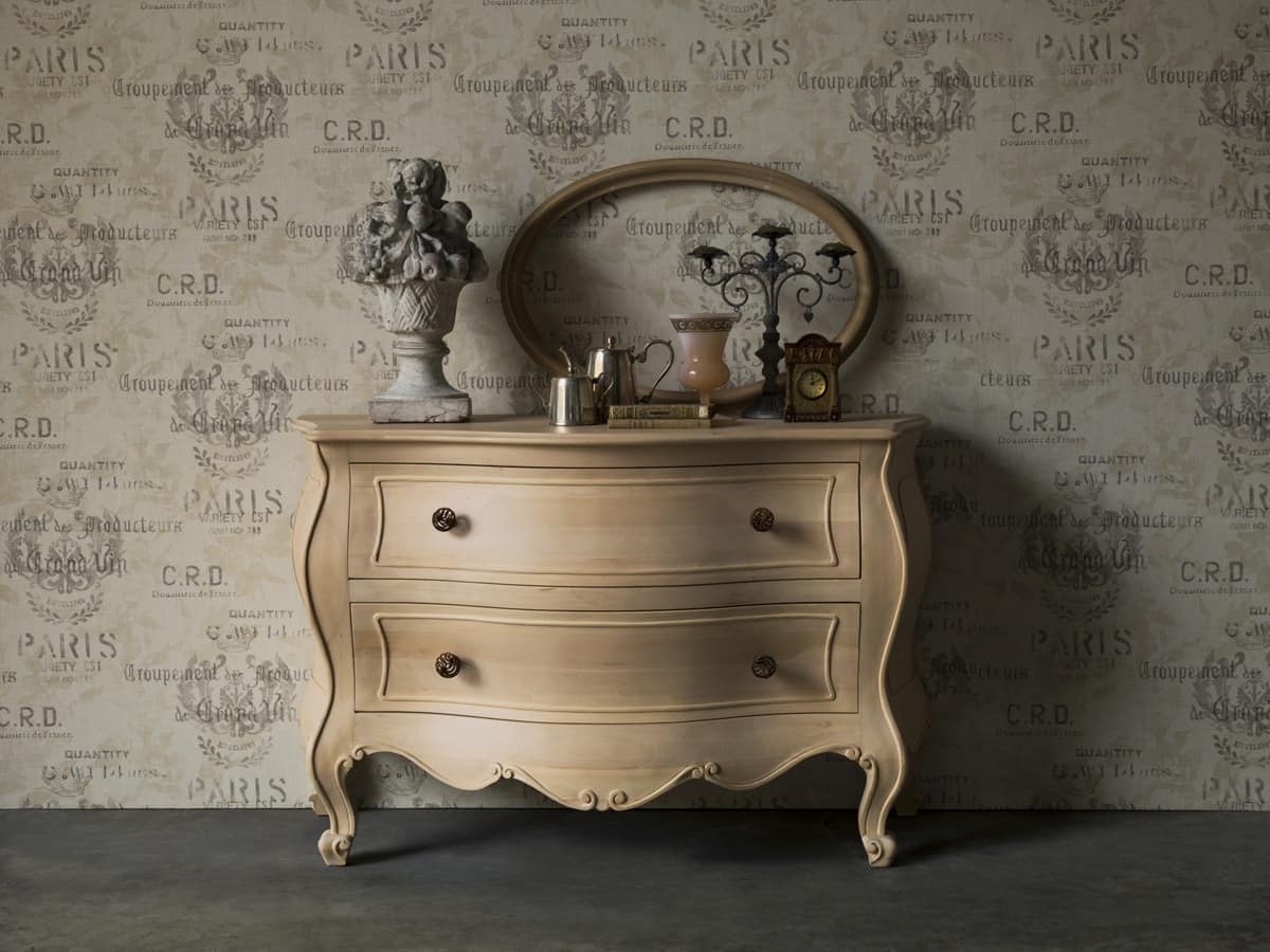 Chest of drawers Sirio, Chest of drawers, natural finishing, Classic style bedrooms