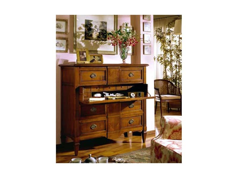 Classical high chest of drawers - fishbone, Hand-worked sideboard Main bedroom