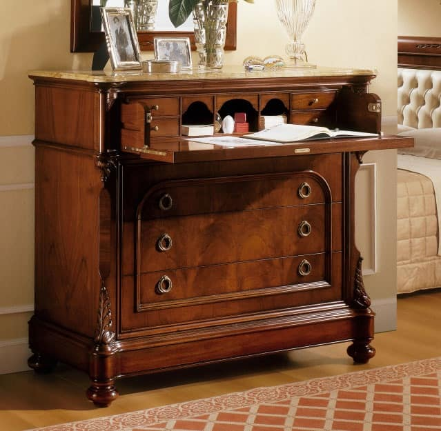 D'Este chest of drawers, Dresser in walnut with finish luxurious for Classic room