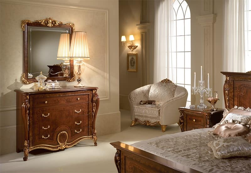 Donatello chest of drawers, Chest of drawers in carved wood, luxurious neoclassical style, for the bedroom