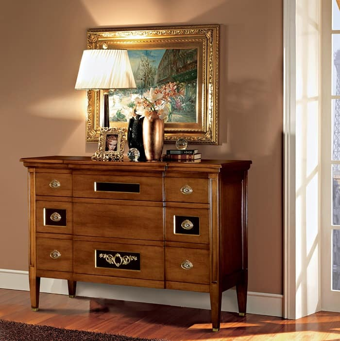Louvre chest of drawers, Chest of drawers in walnut, decorated by hand
