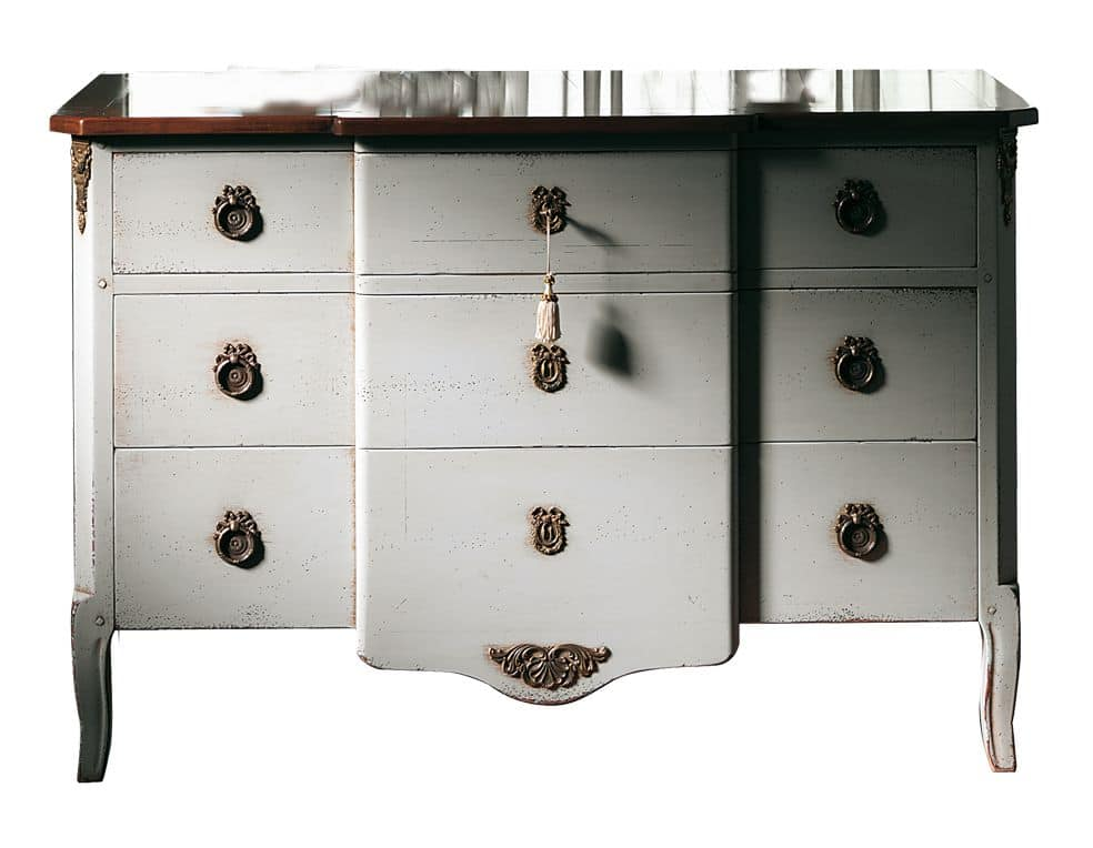 Marseille VS.1041.A, Walnut chest, 3 drawers and wood, brass ornaments, classic style
