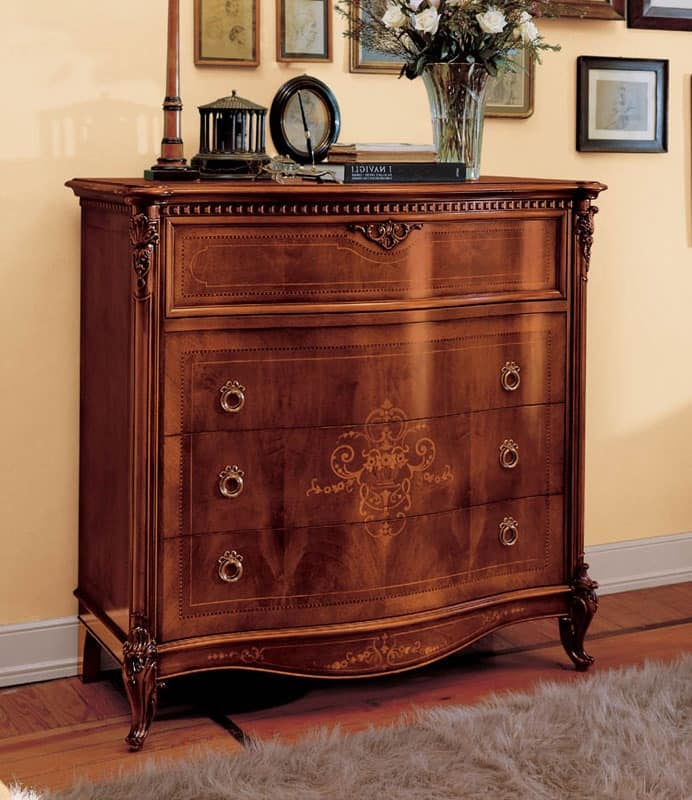 Naviglio chest of drawers, Handmade chest of drawers in classic style for villas