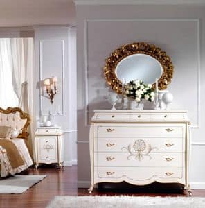 Picture of OLIMPIA B / Ivory lacquered chest of drawers, classic style furniture for bedroom